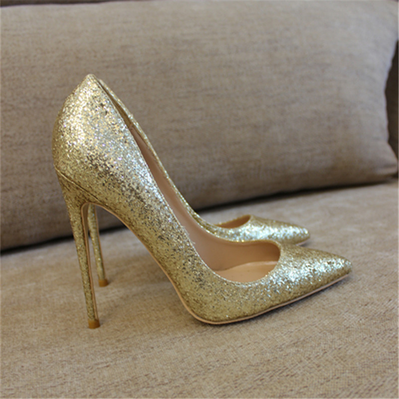 Free shipping fashion women Pumps lady Gold Glitter strass Pointy toe high heels shoes size33-43 12cm 10cm 8cm Stiletto heeled