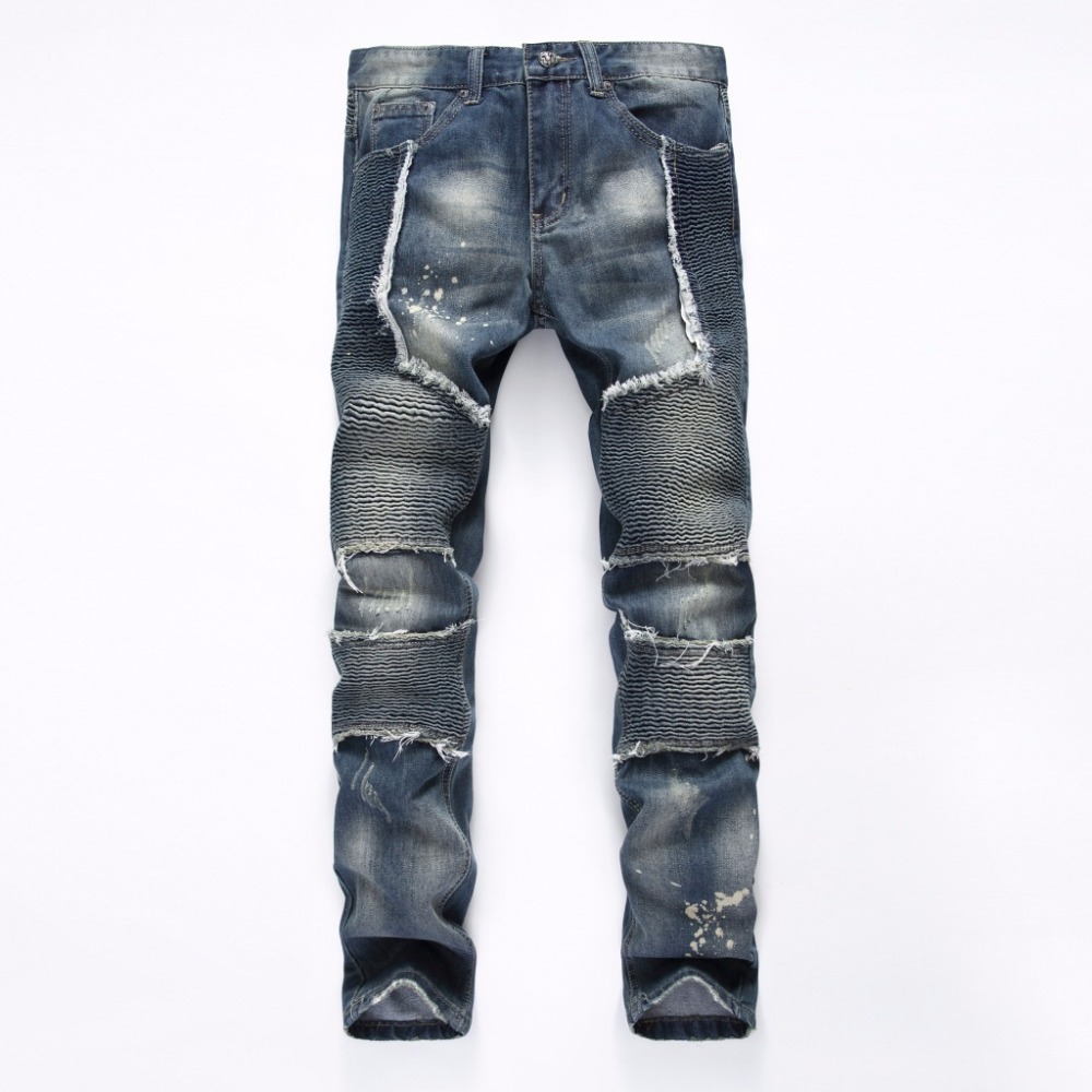 ФОТО Fashion Mens Unique Biker Jeans Pants Fit Pleated Motorcycle Denim Joggers Male Brand Designer Cargo Blue Jean Trousers 28-38