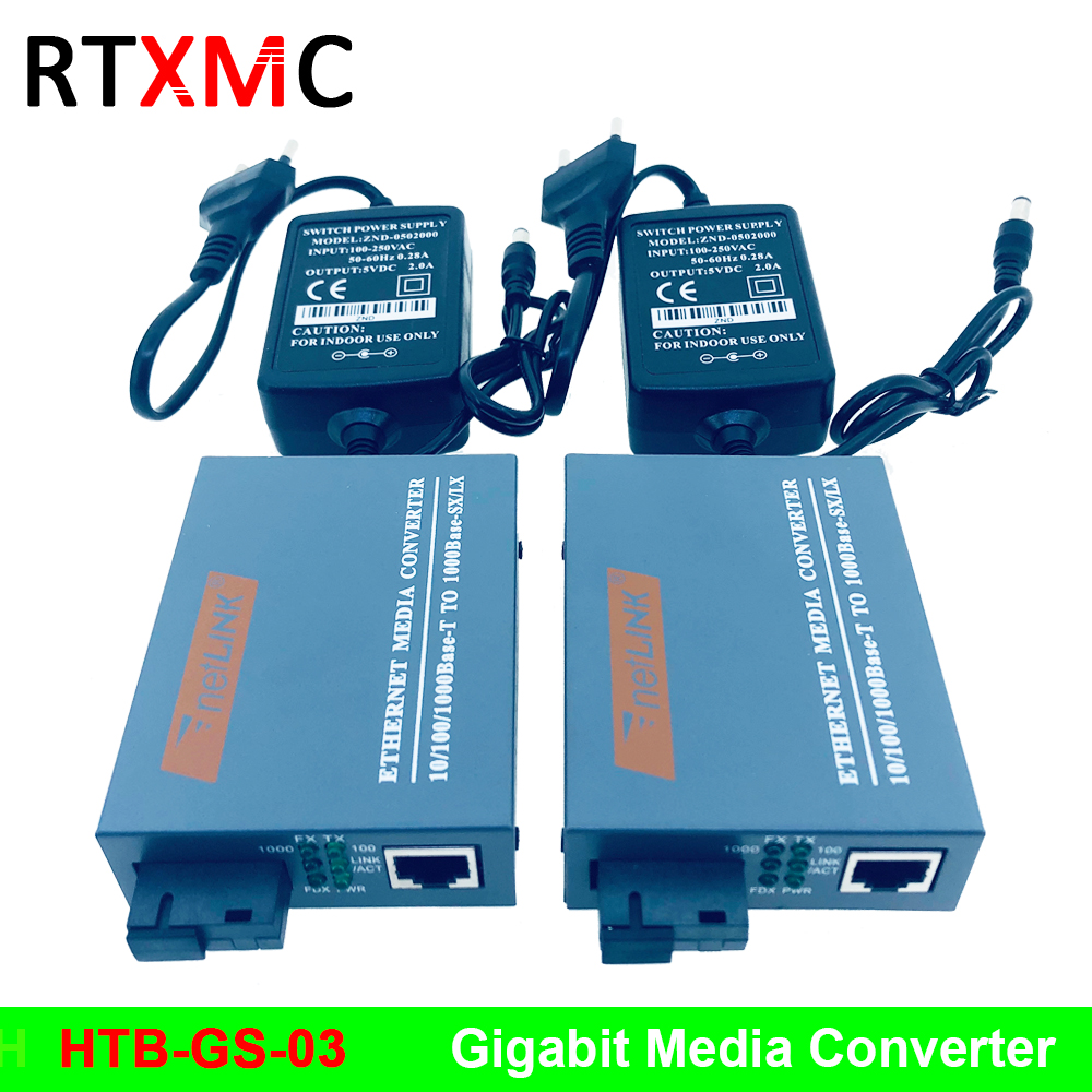 HTB-GS 1 Pair Gigabit Fiber Optical Media Converter 10/100/1000Mbps Single Mode Single Fiber SC Port 20KM External Power Supply