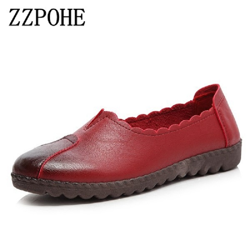 ZZPOHE Spring new mother soft bottom shoes middle - aged casual women shoes black non - slip comfort large size grandma shoes zzpohe women shoes spring soft soled mother black single shoes leather non slip casual comfortable middle aged ladies flat shoes