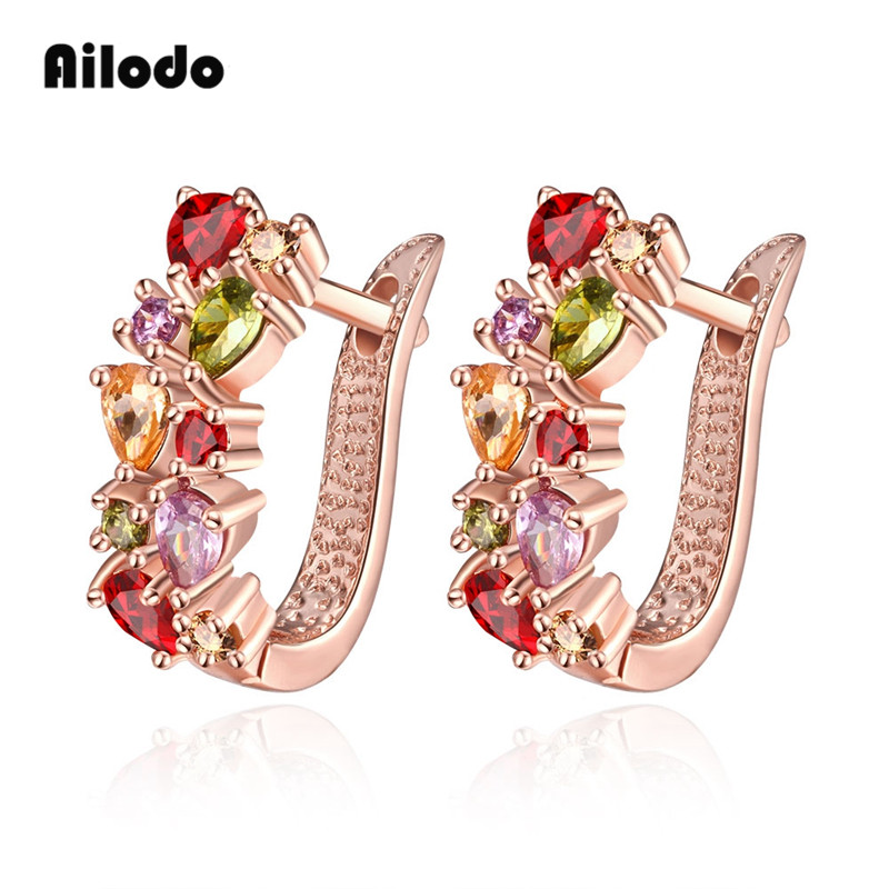 Ailodo Luxury Colorful CZ Clip Earrings For Women Rose Gold Color Female Fashion Party Wedding Jewelry Gift LD221