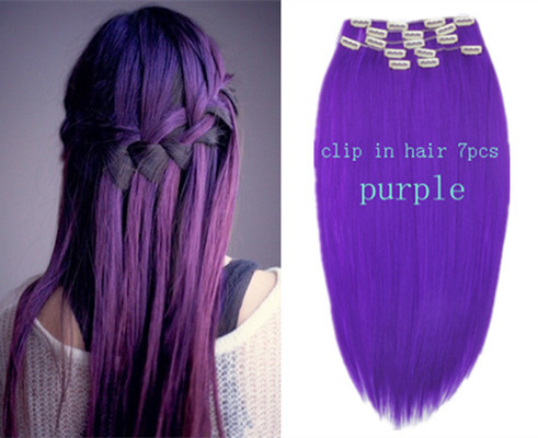 Hair color purple hair extensions straight synthetic clip in long hair color purple hair extensions straight synthetic clip in long hair extensions hair piece 20 22 pmusecretfo Images