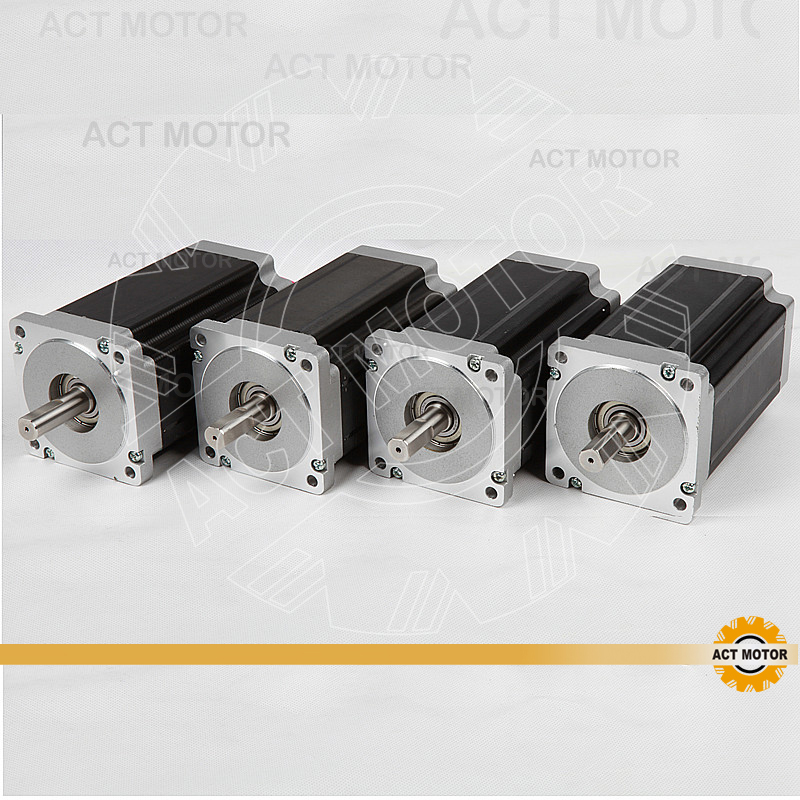 ACT 4PCS Nema34 Stepper Motor 34HS5460 Single Shaft 1700oz-in 151mm 6A High Current&Low Inductance&Fast Speed CNC Milling 3pcs nema 34 stepper motor 86hs155 6004a single shaft 1700oz in 12n m 6a 155mm cnc engraving