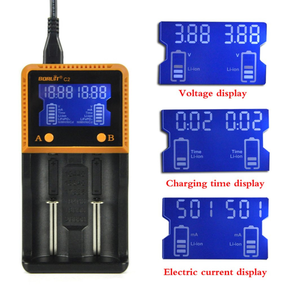 C2 Double-groove Intelligent LCD Battery Charger HD Display Screen 18650 Lithium Rechargeable Car Charging Batteries Chargers