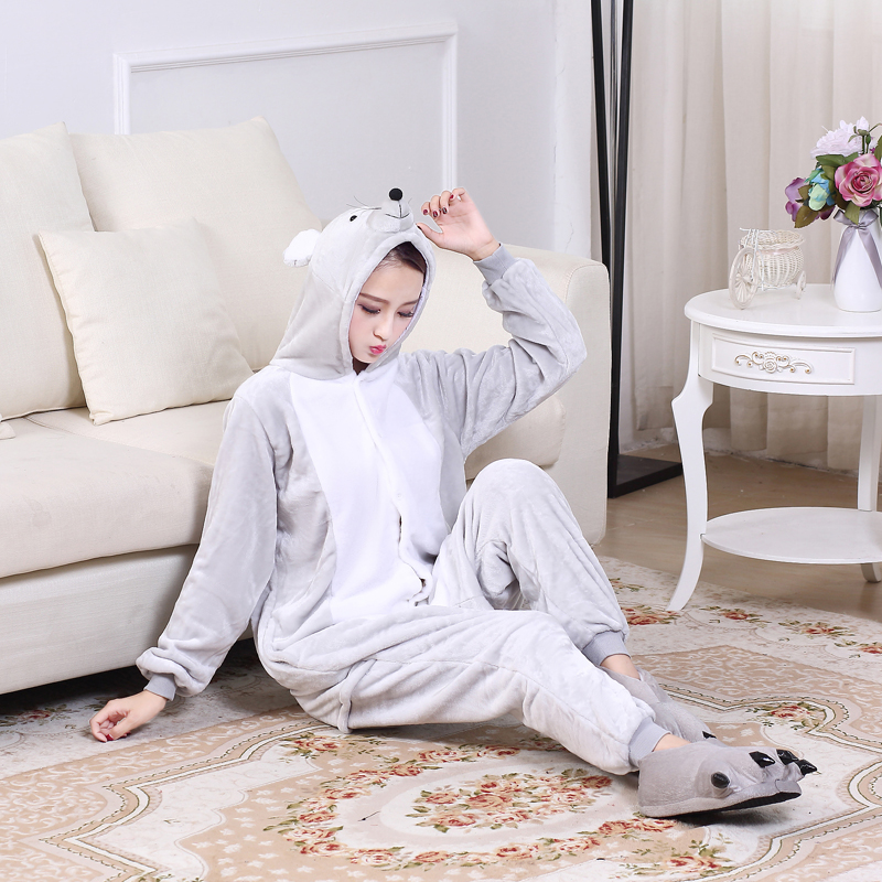 Soft Gray Mouse Onesie Flannel Warm Cute Pajamas Kigurumi Animal Sleepwear Adult For Women Cosplay home Special Costume Jumpsuit (5)