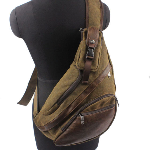 ee1296fe7ffe Men s Canvas Sling Chest Casual Bag Cross Body Messenger Shoulder Bag Travel  Motorcycle Riding Hiking Pouch