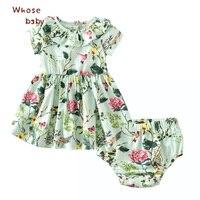 طفل اللباس الفتيات الصيف الأخضر الحيوانات زهرة الطباعة الاطفال فساتين للبنات الوليد اللباس + ملابس داخلية طفل مجموعات ارتفاع جودة
