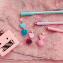 3pcs Mini pink heart gel pen set Cute Love pendant 0.5mm Black color pens writing gift Stationery Office school supplies A6557