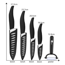 Set of Ceramic Knives 3 4 5 6 Inch Ceramic Zirconia Black and White Chef Knives