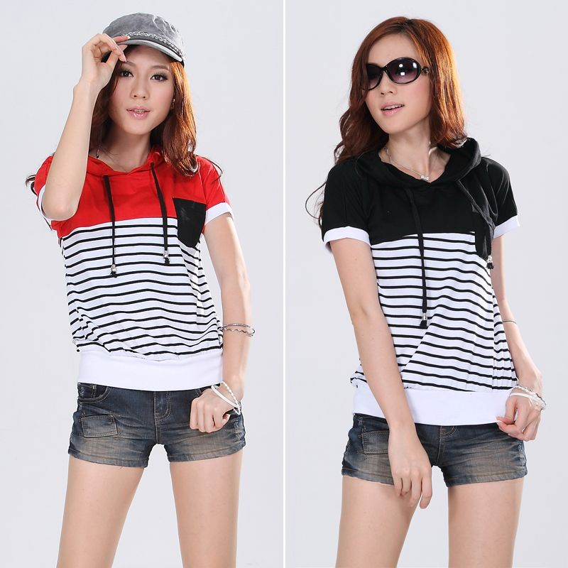 Summer Style Women'S Clothing Short Sleeve Loose Striped Hoodies Cotton Hoody Sweatshirts Women Hoodies Plus Size M-4XL