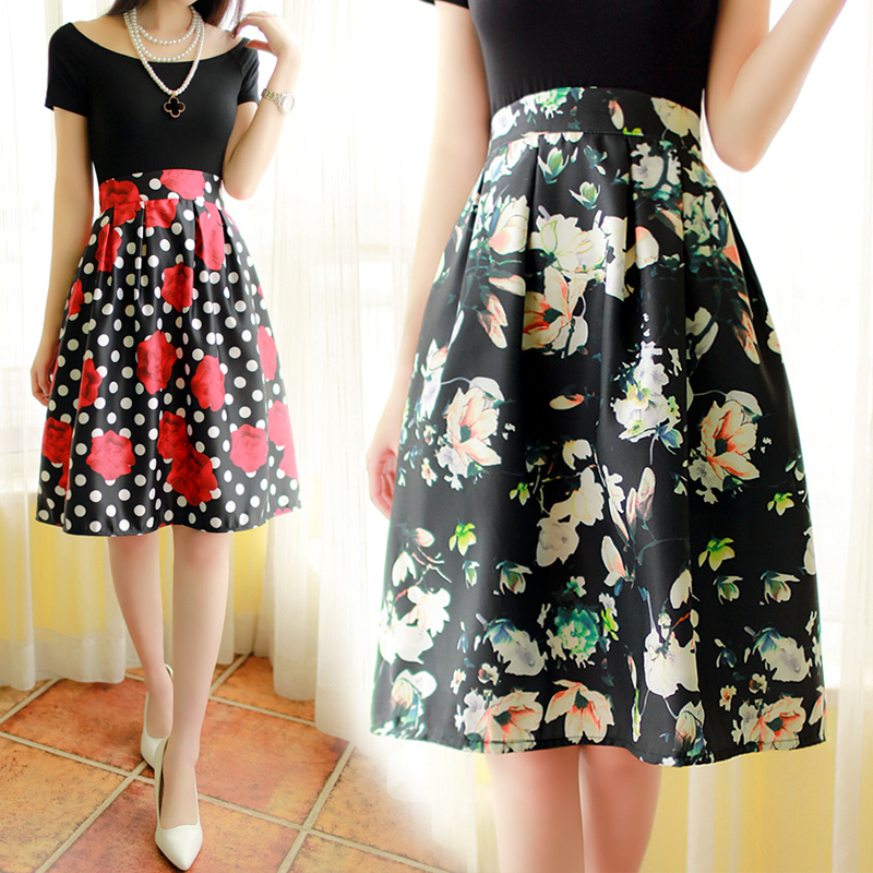 8bbbcbe0bd New Vintage Style Floral Print Skirt Fashion High Waist Summer Skirt  Pleated Plus Size A line Midi Skirt-in Skirts from Women's Clothing on  Aliexpress.com ...
