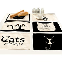 Cartoon Animals Table Coasters Mat Pad White Black Cat Printed Cloth Cup Decorative Mats Linen Placemat Pattern