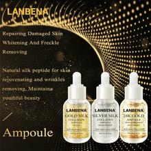 LANBENA 24K Gold+Silver Silk +Gold Collage Ampoule Serum Whitening Anti-wrinkle Lighten Nourishing Repairing Skin Care