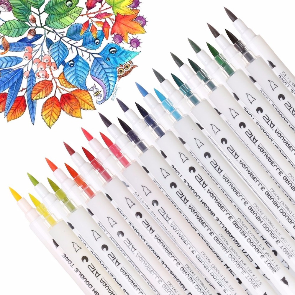 STA Premium 14PCS 28Colors Gradient Watercolor Marker Pen Water Soluble Double Tips Art Marker Set For Drawing Design Manga