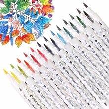 Sta 프리미엄 14 pcs 28 색 그라디언트 수채화 마커 펜 수용성 더블 팁 아트 마커 드로잉 디자인 만화에 대 한 설정