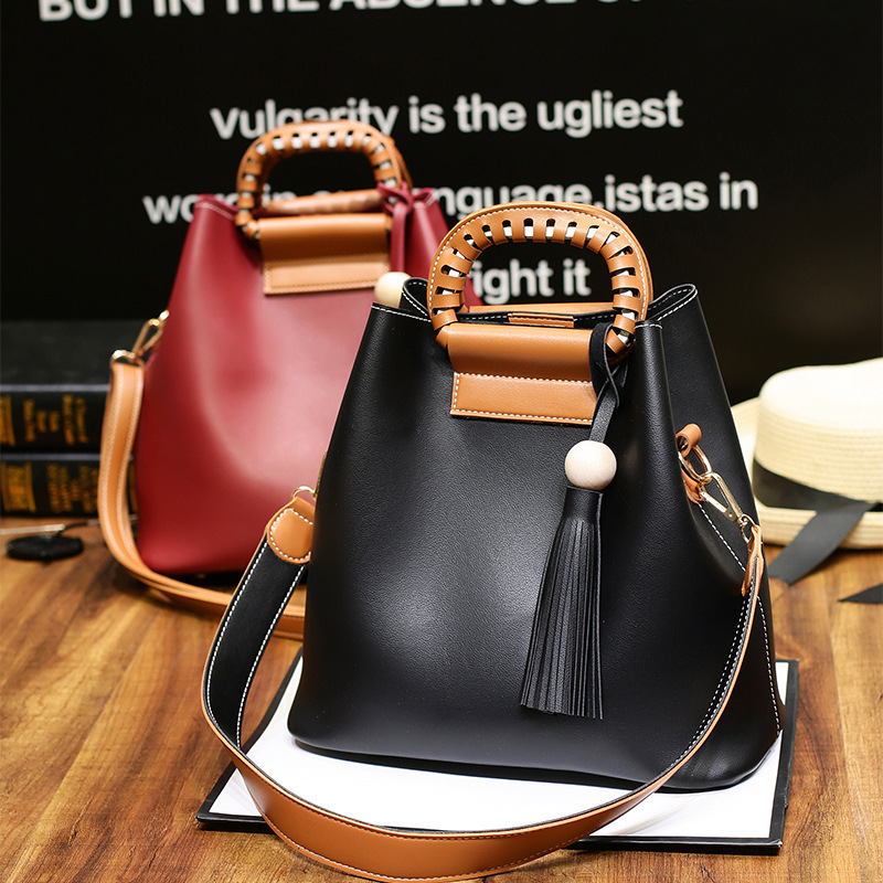 2016 New Pattern Korean Solid Color Concise Shopping Package Fashion Tassels Single Shoulder Span Woman Package