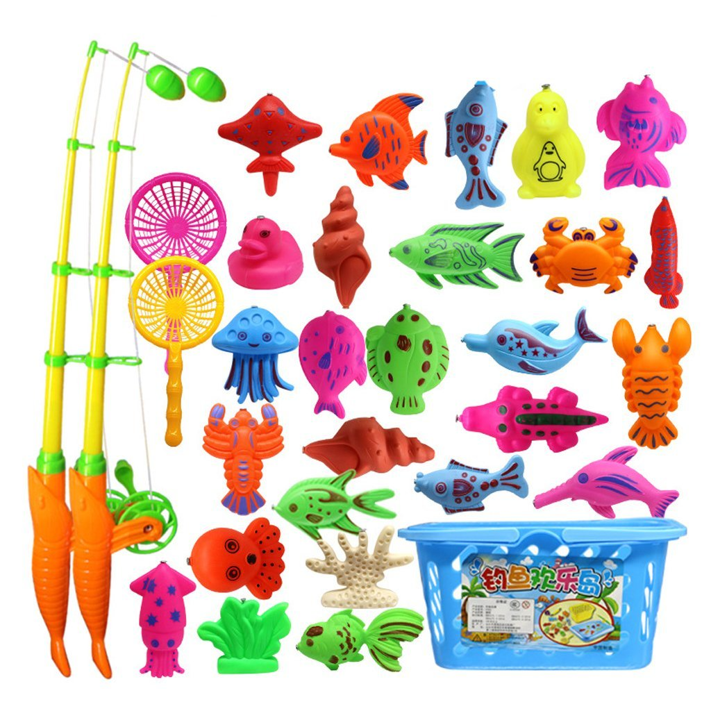 Fishing Toys Humorous 32 Piece Magnetic Fishing Toy Rod Model Oceanic Net Fish Baby Bath Time Water Fun Interactive Toys Factory Direct Selling Price