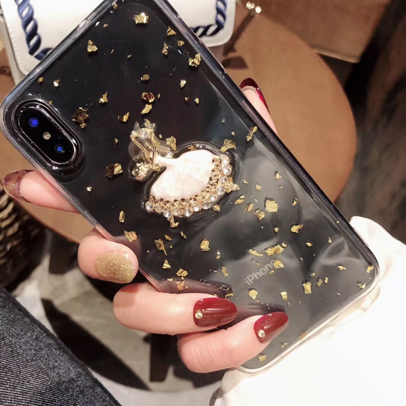 Tfshining Gold Foil Glitter Bling Case for iPhone X XS MAX 8 7 6 6S Plus Ballet Girl Silicone Clear Case TPU Back Shell Cover (6)