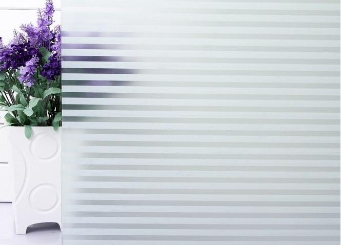 60 * 100 cm selvklæbende dekorativ, frostet privat vinduesfilm til badeværelse køkken kontorvinduer stripe