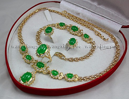 Wholesale price 16new ^^^^Natural Green stone Inlay Link Bracelet earrings Ring Necklace Set wholesale price 16new ^^^^ewellery green stone inlay zircon earring pendant ring sets