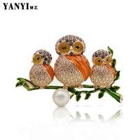 YANYI Rame Grande Tre Bella Owl Spille Per Le Donne Con AAA Cubic Zirconia del Cappotto Vestito Clip Pins Regali Di Natale