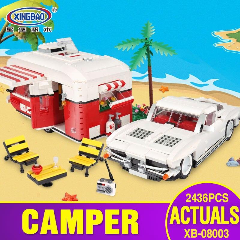 New XingBao 08003 2436Pcs New Creative Series The MOC Camper Set Children Educational Building Blocks Bricks Toys Model Gifts