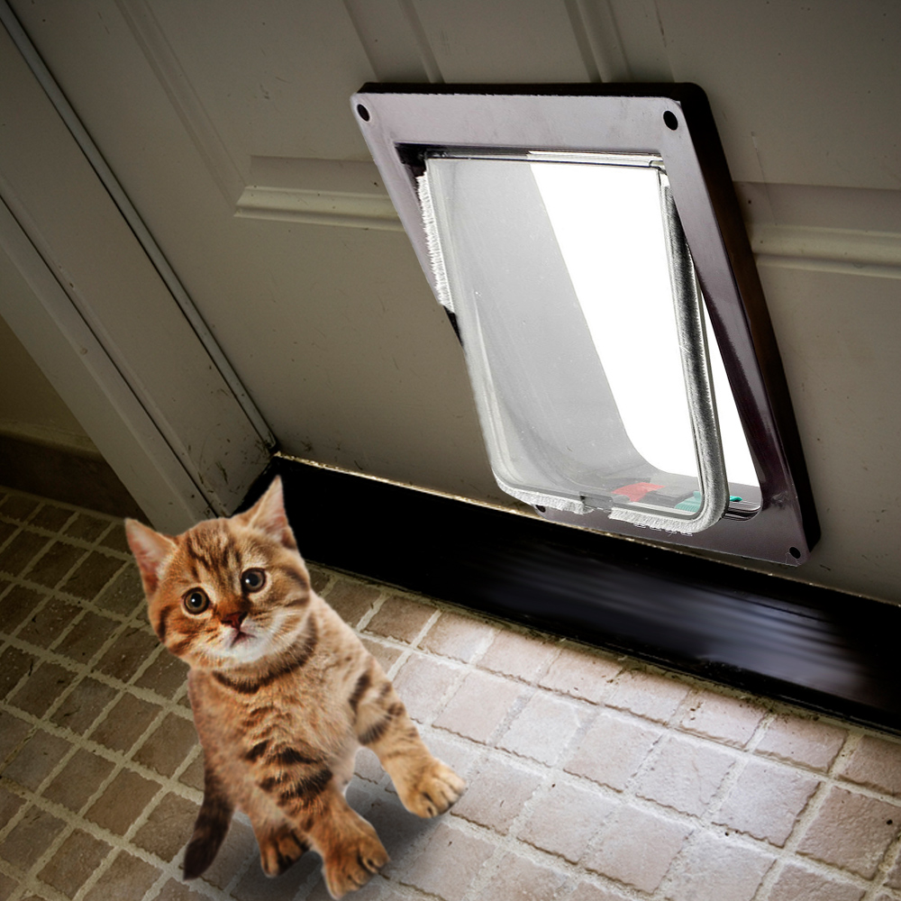 Lockable Dog Cat Security Flap Door Abs Plastic Security Flap Door Animal Small Pet Cat Dog Gate Door Pet Puppy Supplies S/m/l