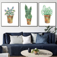 Watercolor Green Plants Leaves Wall Art Canvas Painting Nordic Poster Cactus Deco Maison Pictures For Living Room Unframed