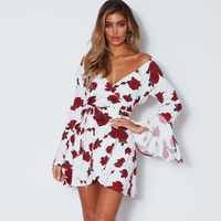 Cotton Flare Sleeve dress elegant Casual Full Ruffles A Line Autumn winter dresses women 2018 rose prints vintage dress
