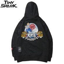 Толстовка в стиле хип хоп с вышивкой головы тигра Харадзюку, уличная одежда 2018, осенняя мужская толстовка с капюшоном, пуловер из хлопка, большие размеры