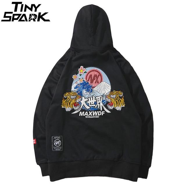 Hip Hop Hoodie Sweatshirts Embroidery Tiger Head Harajuku Streetwear 2018 Autumn Floral Wave Men Hoodie Pullover Cotton Oversize