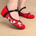 New Arrival Vintage Old Peking Women's Shoes Chinese Flat Heel With Flower Embroidery Comfortable Soft Canvas Shoes Size 35-40
