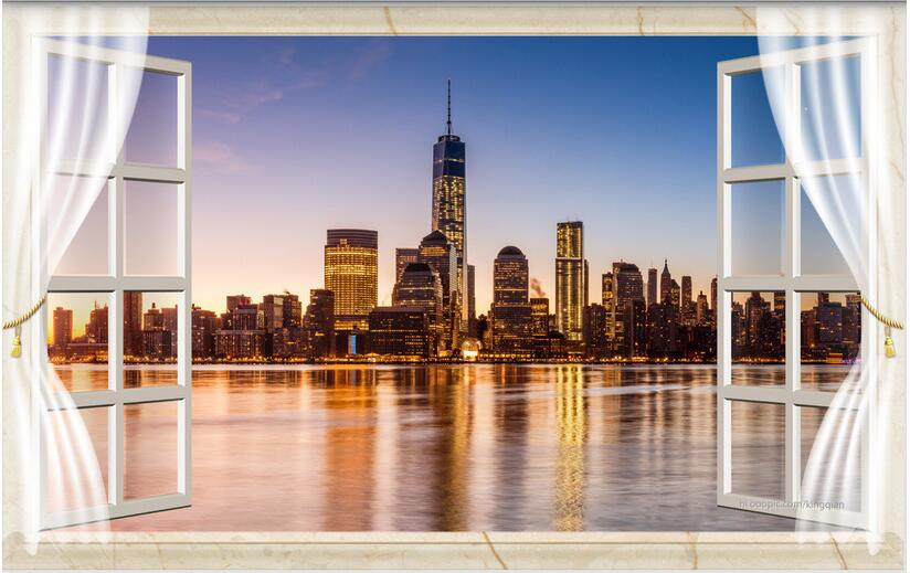 Custom photo 3d wallpaper Non-woven mural 3 d window in New York at night painting 3d wall room murals wallpaper landscape 3d wallpaper custom mural non woven cartoon animals at 3 d mural children room wall stickers photo 3d wall mural wall paper
