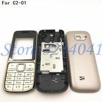 Original novo caso de habitação completa capa para nokia C2 01 bateria capa caso habitação com teclado inglês + logotipo Estojos de celular     -