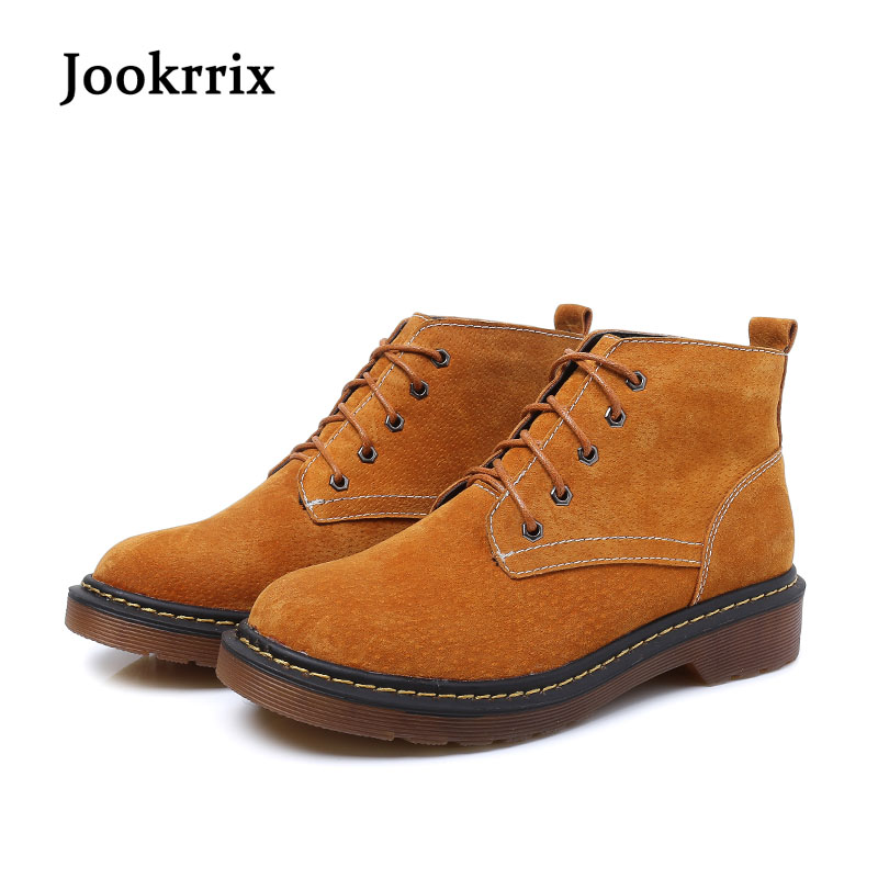 Jookrrix New Autumn Winter Fashion Warm Martin Boot Real Leather Lady Shoes Women British Style Ankle Boots Cross-tied Soft Sole цены онлайн