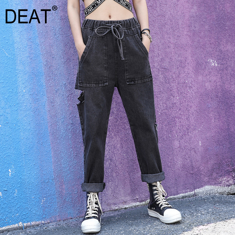 [DEAT] 2019 New Spring Summer High Waist Gray Deimn Holes Hollow Out Do Old Loose Pants Women Trousers Fashion Tide JT95