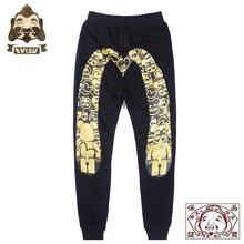 2019 Tide brand Evisu Violent Bear Joint Name Hot Stamping Mens Trousers Wild Cotton Sweatpants Casual Pants Shorts F711