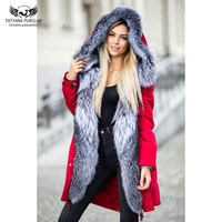 Tatyana Furclub Real Fur Parka For Women Fashion Luxury Jacket With Natural Fox Fur Collar Winter Thick Warm Coat Red Fur Parkas