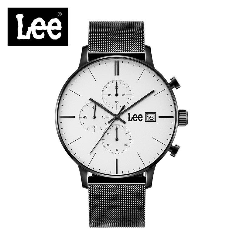 Lee Famous Brand Luxury Men Dress Business Full Black Stainless Steel Wrist Watch 5ATM Waterproof  Male Chronograph Clock M114 stylish 8 led blue light digit stainless steel bracelet wrist watch black 1 cr2016