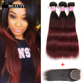 Fashion 1B Burgundy Hair 3 Bundles With Closure Straight 10A Malaysian Hair Bundles Ombre Weave With Closure Rosa Hair Products