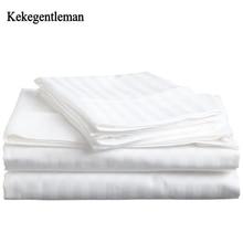 Juego de ropa de cama de 100% algodón, tira de satén, ropa de cama de Hotel blanca de lujo, cubierta de edredón de tamaño King y sábana bajera y funda de almohada