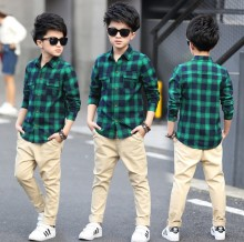 Tommu Carino Brand Plaid School Shirt Camisas 2017 New Arrival Fashion Long-sleeved Male Casual High Quality Kids Boys Shirts
