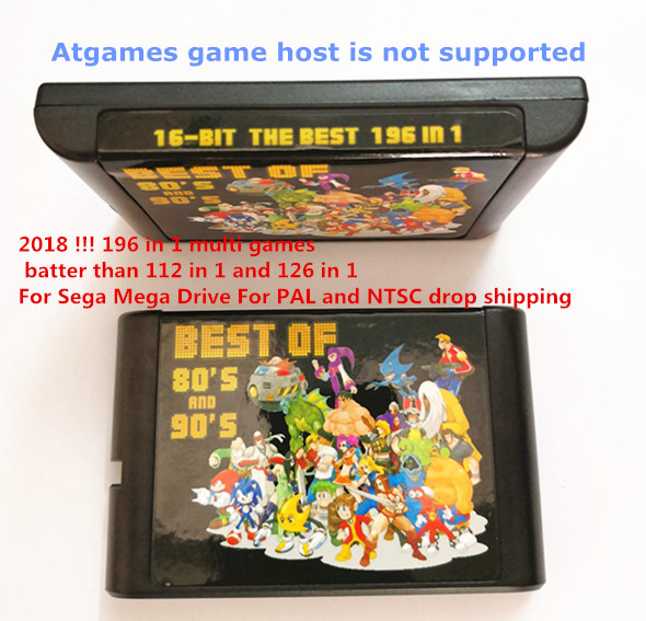 2018 !!! 196 in 1 multi games batter than 112 in 1 and 126 in 1 For Sega Mega Drive For PAL and NTSC drop shipping2018 !!! 196 in 1 multi games batter than 112 in 1 and 126 in 1 For Sega Mega Drive For PAL and NTSC drop shipping