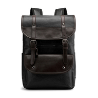 Men Leather Backpack Large Capacity Vintage Style Men's Bag Simple Patchwork for Travel Casual Daypacks male Backpacks