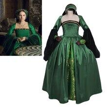 Детское платье в викторианском стиле для девочек, платье в тюдоровском стиле, зеленое платье в стиле Анны Болейн, карнавальный костюм