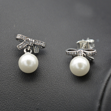 Silver pearl zircon eardrop for couples engaged, anniversary gifts, party wear can support custom