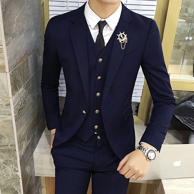2020 New Suit Men's Three Sets Of Korean Style Casual  British Small Suit