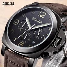 Мужские часы Baogela с коричневым кожаным ремешком, хронограф, светящийся, 24 часа, индикатор Даты, кварцевые наручные часы