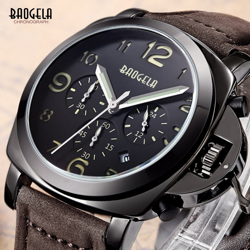 Baogela Mens Brown Leather Strap Chronograph Luminous 24 Hours Date Indicator Quartz Wrist Watches