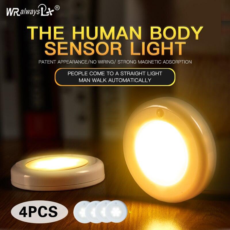 wralwsyslx 1W LED 4PCS PIR motion sensor LED cabinet light with magn
